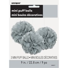 "9"" Silver Tissue Paper Pom Poms, 3ct Package"