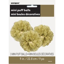 "9"" Gold Tissue Paper Pom Poms, 3ct Package"