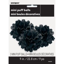 "9"" Black Tissue Paper Pom Poms, 3ct Package"
