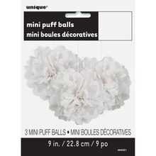 "9"" White Tissue Paper Pom Poms, 3ct Package"
