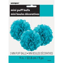 "9"" Teal Tissue Paper Pom Poms, 3ct Package"