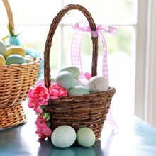 Pink Floral Easter Basket, medium
