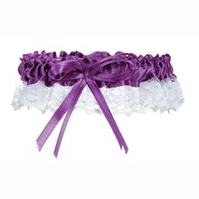 Victoria Lynn Purple Satin & White Lace with Bow Garter