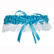 Victoria Lynn Cobalt Satin & White Lace with Bow Garter