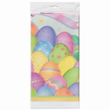 "Plastic Dazzle Eggs Easter Tablecloth, 84"" x 54"""