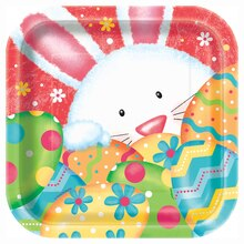 "7"" Square Happy Easter Bunny Party Plates, 10ct"