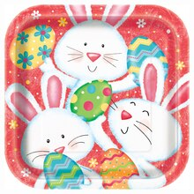 "9"" Square Happy Easter Bunny Party Plates, 8ct"