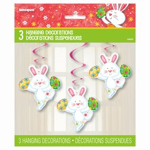 Hanging Happy Easter Bunny Decorations, 3ct Package