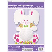 "14"" Hanging Honeycomb Easter Bunny Decoration Package"