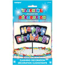 Flashing Multicolor Happy Birthday Cake Topper