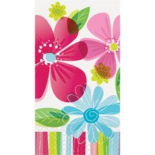 Striped Spring Flowers Paper Guest Towels, 16ct