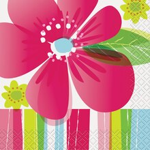 Striped Spring Flowers Beverage Napkins, 16ct