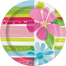 "7"" Striped Spring Flowers Party Plates, 8ct"