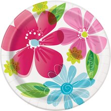 "9"" Striped Spring Flowers Party Plates, 8ct"