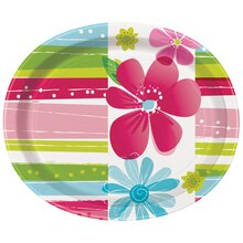 Oval Striped Spring Flowers Dinner Plates, 8ct