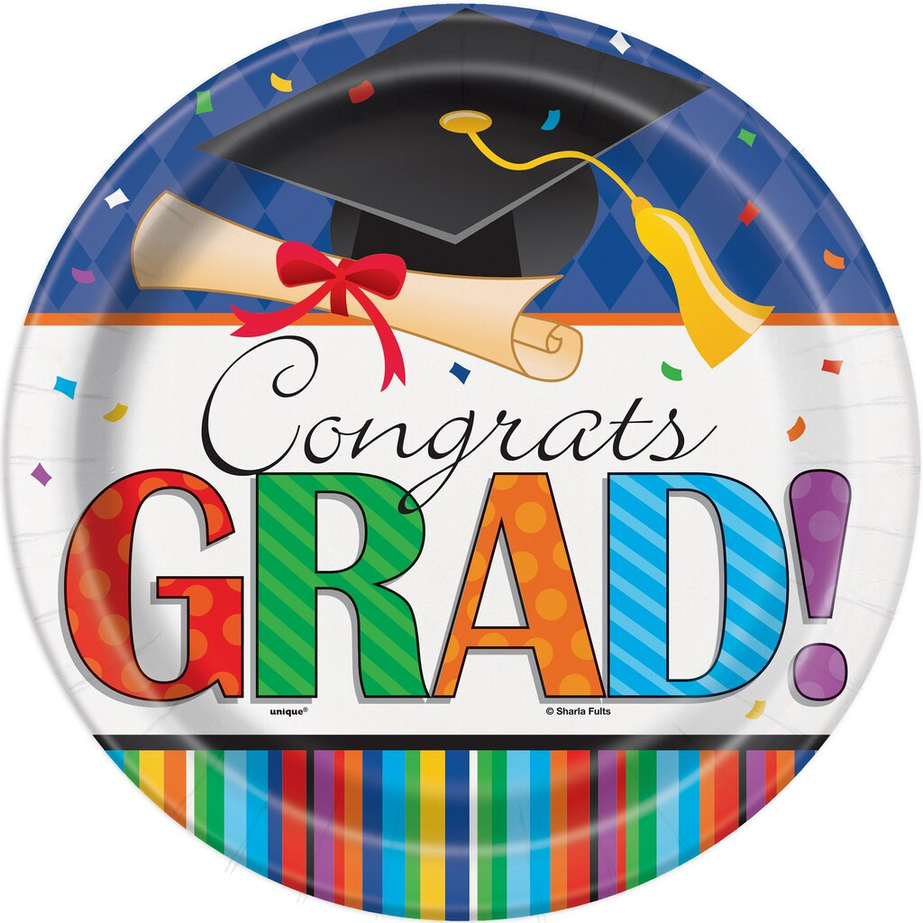 graduation paper plates Graduation is a momentous milestone—nearly everyone will be throwing a party cut out letters to spell congrats from blue paper and glue to paper plates.