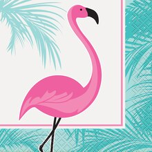 Pink Flamingo Summer Luau Beverage Napkins, 16ct