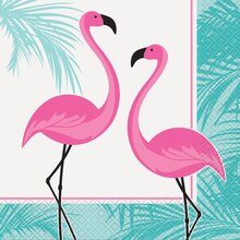 Pink Flamingo Summer Luau Luncheon Napkins, 16ct