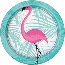 "7"" Pink Flamingo Summer Luau Party Plates, 8ct"