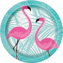 "9"" Pink Flamingo Summer Luau Party Plates, 8ct"