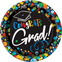 "7"" Bright Graduation Party Plates, 8ct"