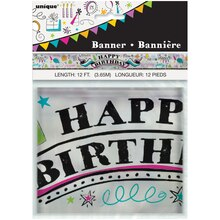 Foil Doodle Happy Birthday Banner, 12 Ft Packaged