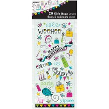 Doodle Happy Birthday Cellophane Bags, 20ct