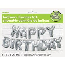 Foil Silver Happy Birthday Letter Balloon Banner Kit Packaged