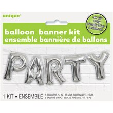 Foil Silver Party Letter Balloon Banner Kit Packaged