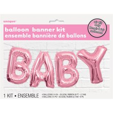 Foil Pink Baby Letter Balloon Banner Kit Packaged