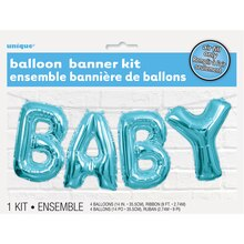 Foil Blue Baby Letter Balloon Banner Kit Packaged