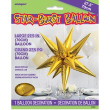 "27"" Large Foil 12 Point Gold Star Balloon"