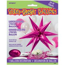 "27"" Large Foil 12 Point Hot Pink Star Balloon"