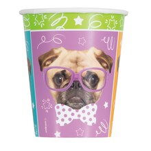 9oz Pug Puppy Party Paper Cups, 8ct