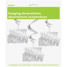 Hanging Foil Silver Happy Birthday Decorations, 3ct Package