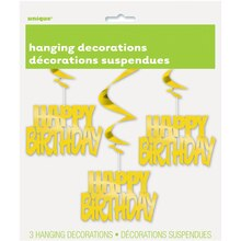Hanging Foil Gold Happy Birthday Decorations, 3ct Package