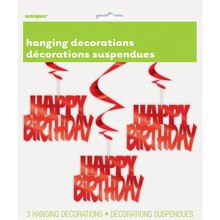 Hanging Foil Red Happy Birthday Decorations, 3ct Package