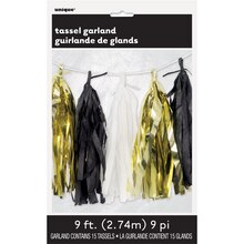 Black, White, And Foil Gold Tissue Paper Tassel Garland, 9 Ft. Package