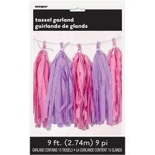 Pink And Purple Tissue Paper Tassel Garland, 9 Ft.