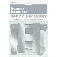 Silver Happy Birthday Banner, 4 Ft. Package