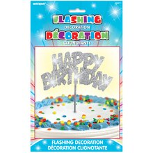 Flashing Silver Happy Birthday Cake Topper Package