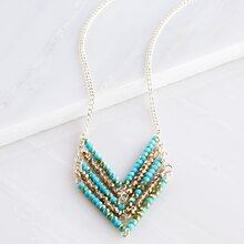 Aqua and Amber Chevron Necklace, medium