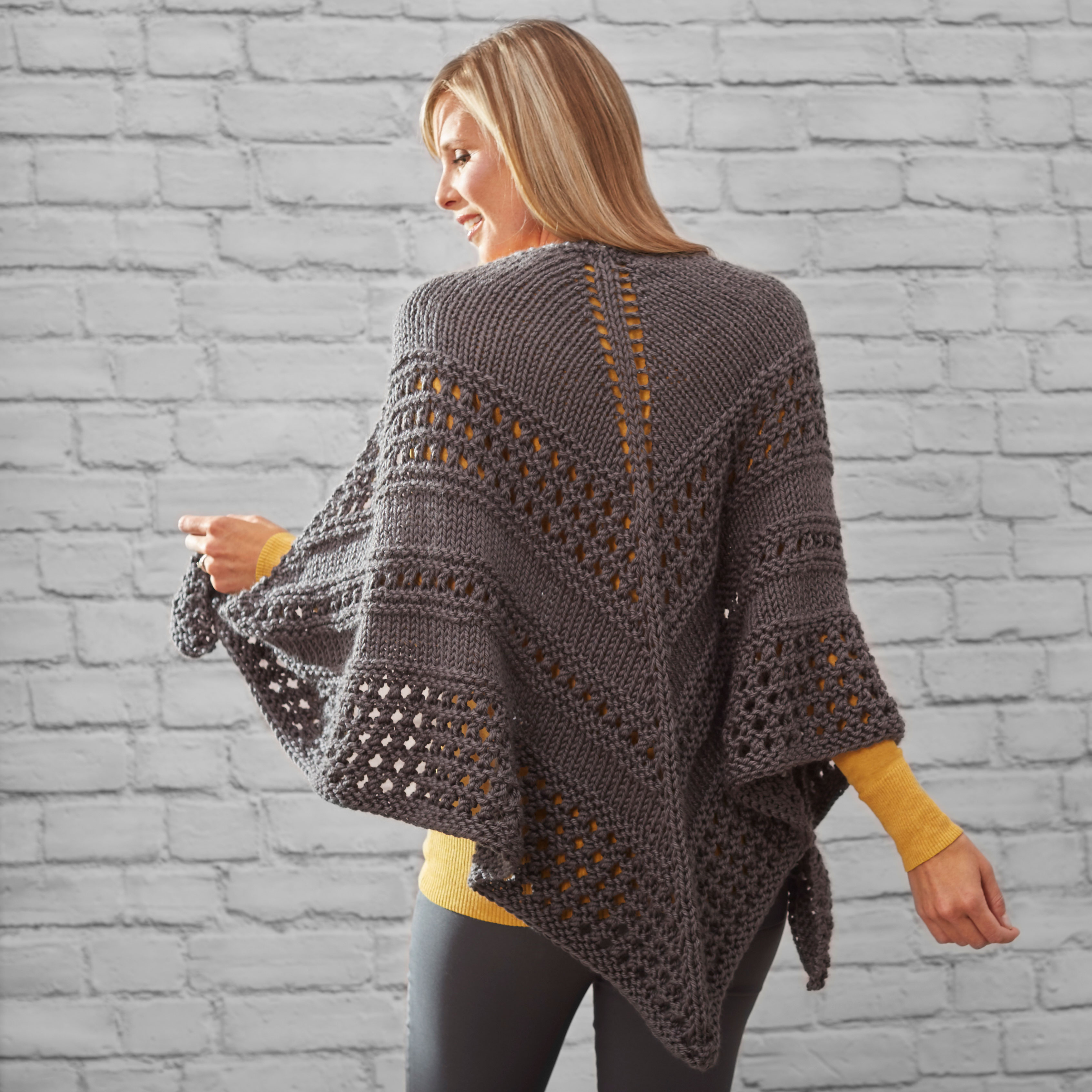 Knitting Events 2018 : Red heart soft essentials™ textured triangle knit shawl