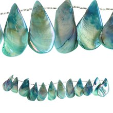 Bead Gallery Large Teardrop Shell Beads, Teal Close Up