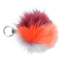 Maroon & Orange Hairy Pom Pom with Strap By Bead Landing