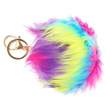Neon Multicolored Hairy Pom Pom Keychain By Bead Landing