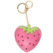 Pink & Green Strawberry Keychain By Bead Landing