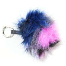 Multicolored Hairy Pom Pom with Strap By Bead Landing