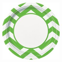 "9"" Lime Green Chevron Party Plates, 8ct"