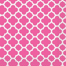 Hot Pink Quatrefoil Beverage Napkins, 30ct